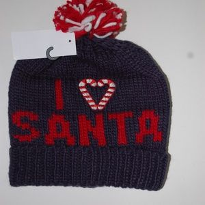 NWT Blue Stocking Cap Christmas I Love Santa